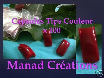 capsules tips french couleur faux ongles gel uv kit nail art cut out ROUGE red