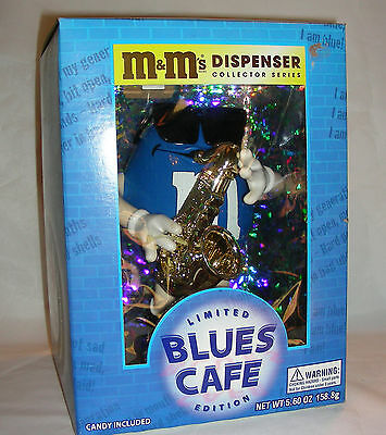 M&Ms Dispenser Collector Series BLUES CAFE Limited Edition Blue Jazz Sax in Box