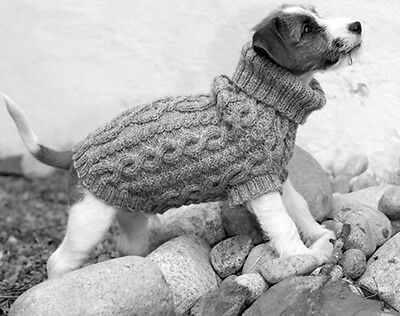 Lovely Aran Cable Dog Coat- Knitting pattern in Double knitting wool- To knit
