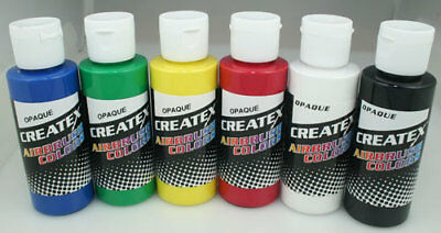CREATEX Airbrushing Paint 6pc OPAQUE Colors 5803
