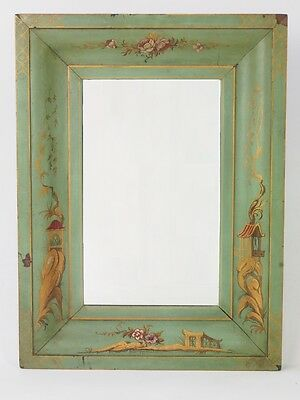 Antique Edwardian Chinoiserie Mirror - Hall Wall Overmantle Shabby Chic Mirror