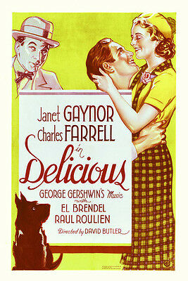 Delicious Janet Gaynor Charles Farrell 11x17 Movie Poster