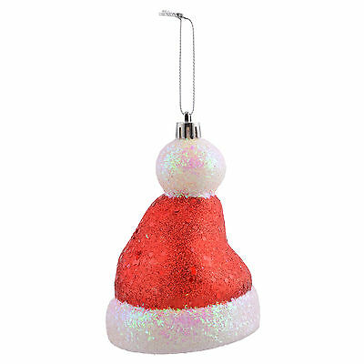 Christmas Tree Decoration Red Glitter Santa Hat Hanging Ornament Bauble Decor