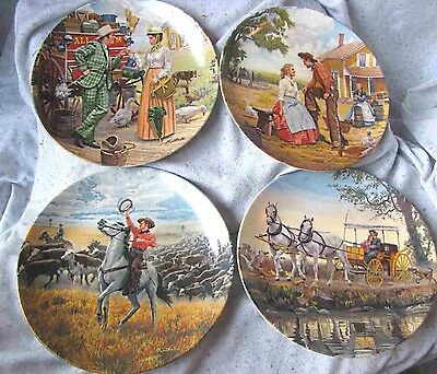 Set of 4 Knowles Oklahoma series plates numbered , 1985. First in series issue