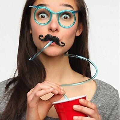 HOT Crazy Funny Drinking Straw Glasses Novelty Joke Clear Party Filler Game PVC+