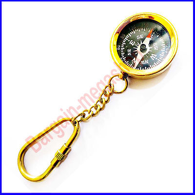 Brass compass keychain Compass Keyring Marine Nautical Key ring