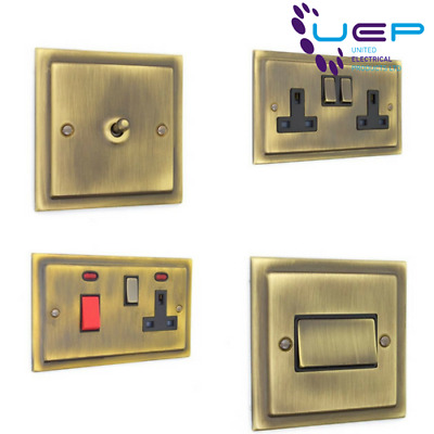 Antique Brass Sockets and Switches - Victorian Range