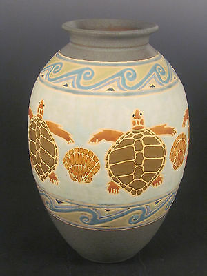 Common Ground Pottery Sea Turtle vase, arts and crafts pottery, art pottery