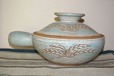Gorgeous Hand Thrown Glazed Clay Pot & Lid-Stand Etched Wheat Blue Signed Huff