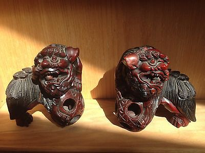 Antique Asian Hand Carved Wooden Foo Lion (foo Dog) Statues