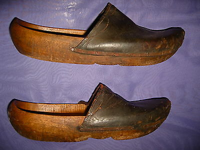 Vintage Pair of Wood & Tooled Leather Clogs Dutch Shoes Handmade Metal Hardware