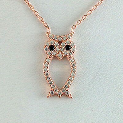 Sterling Silver CZ Owl Ladies Necklace
