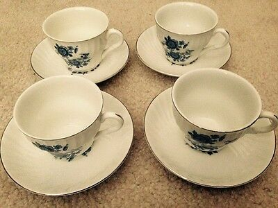 Wedgwood & Co England Royal Blue Ironstone Flat Cup and Saucer Set of 4