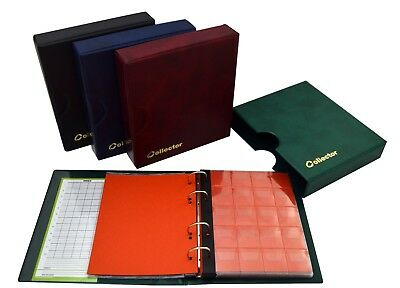 COIN ALBUM IN CASE FOR 200 COINS 50p £1 £2 €1 €2 - COLLECTOR BOOK FOLDER ETUI