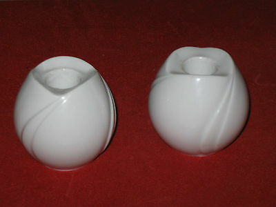 Azberg Germany German Flower Candle Holders White Porcelain Tulips