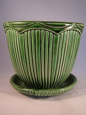 VINTAGE L-A-R-G-E McCOY GREEN FLOWER POT - TIARRA LINE - 1960'S - 2 OF 2 - NICE!