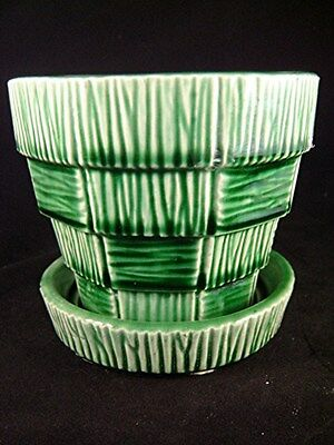 "VINTAGE GREEN McCOY BASKETWEAVE FLOWER POT PLANTER - MEDIUM 4"" - MID CENTURY"