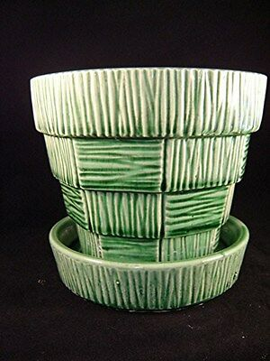 "VINTAGE GREEN McCOY BASKETWEAVE FLOWER POT PLANTER - LARGE 5"" - MID CENTURY"
