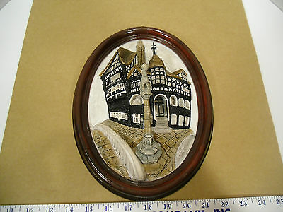 "Brush Strokes ""The Rows at Chester"" Oval 3D Wall Plaque Picture, England - EUC"