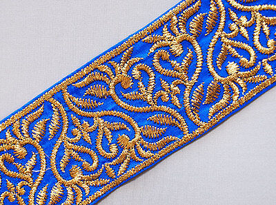 Very Wide Blue Trim Embroidered With Metallic Gold Vines. 1.5 Yards.