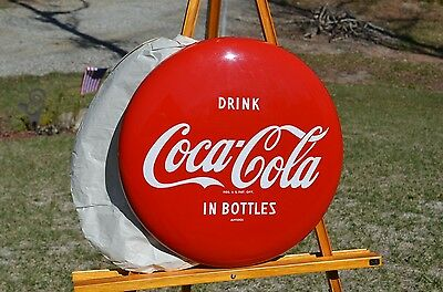 "VINTAGE 1950's COCA COLA ""DRINK"" SODA BUTTON SIGN 16"" MINTY RARE NOS COLLECTABLE"