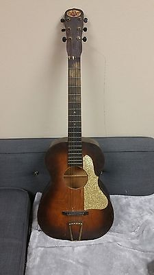 1930s Allied Arts Parlor Guitar, Art Deco Glitter pick guard, birch with case