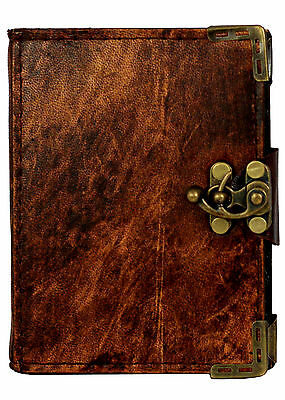 Plain Pattern Brown Leather Journal / Diary / Lock / Notebook / Notepad