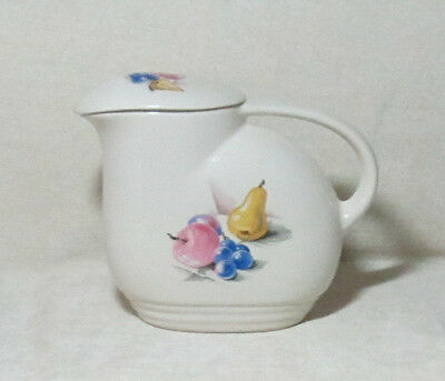 VINTAGE KNOWLES FRUITS UTILITY WARE  COVERED PITCHER WITH LID