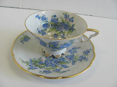 Mitterteich Footed Cup and Saucer Forget Me Not Flowers