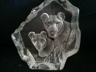 Mats Jonasson Handcrafted Full Lead Crystal Lions