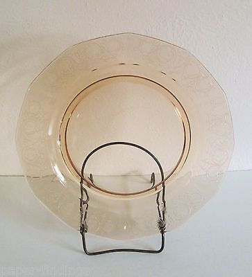"""Fostoia Vernon Amber 9 1/2"""" Dinner Plate Etched Pattern"""
