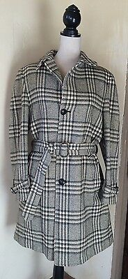 PENDLETON Vtg 70's Belted Black Gray White Classic Plaid Insulated Lined Coat Lg