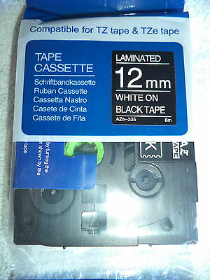 1 Brother TZ 335 WHITE BLACK Label Tape Compatible TZe 335 26 ft 12mm