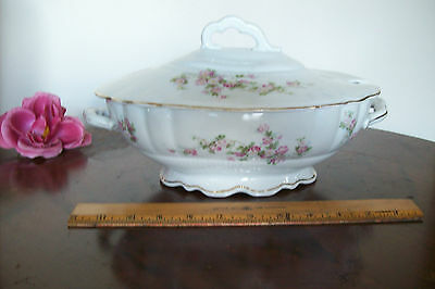 """ANTIQUE PORCELAIN SOUP TUREEN""""MADE IN AUSTRIA""""mark W/ PINK FLOWERS approx. 2 Qts"""
