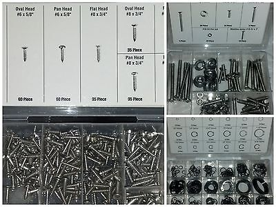 615 PIECE ASSORTED STAINLESS STEEL SCREWS & RETAINER RINGS TRIM MOULDING MULTI