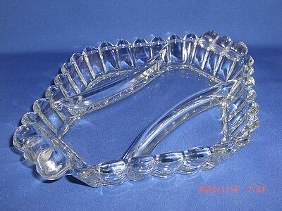 Vintage Heisey Glass Crystolite 3 Part Handled Oblong Relish Dish 9.75""