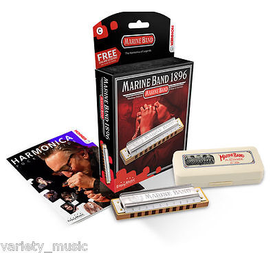 Hohner Marine Band Harmonica Key of C, no.1896cx, includes free online lessons