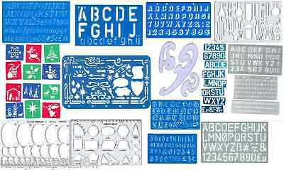 Various Pattern, Shape & Letters Stencils Template (French Curve, Old English...