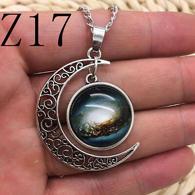NEW Colorful Galaxy Glass Hollow Moon Shape Pendant Silver Tone Necklace Z17