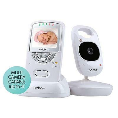 """Oricom 2.4Ghz Digital Video Baby Monitor 2.4"""" Screen White Babies Encrypted"""
