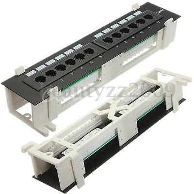 12 Way Ports RJ45 CAT5E Network Patch Panel Both Wall Mount & Rack Mount Bracket
