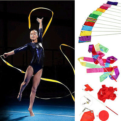 11 Color 4M Gym Dance Ribbon Rhythmic Art Gymnastic Streamer Baton Twirling Rod