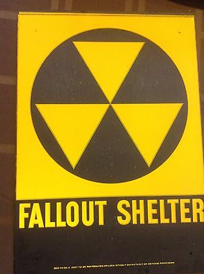 "VINTAGE 1960s ORIGINAL FALLOUT SHELTER SIGN. GALV.STEEL 10""x14"" Sign With Defect"