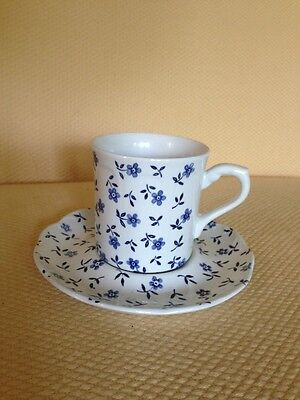 Cornflower Pattern J & G Meakin England Sterling Cup And Saucer Blue