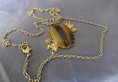 Retro  Tigers Eye Oval Floral Leaf Framed Gold Plated  Pendant & Chain 13""