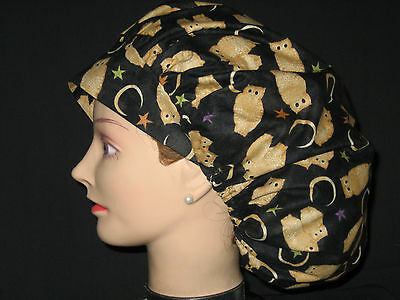 Surgical Scrub Hats/Caps  Golden Owls with Crescent Moons