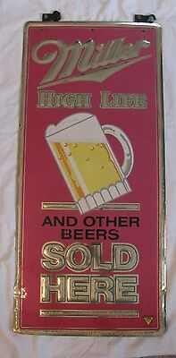 2 SIDED MILLER HIGH LIFE AND OTHER BEERS SOLD HERE PUB BAR BEER TIN SIGN