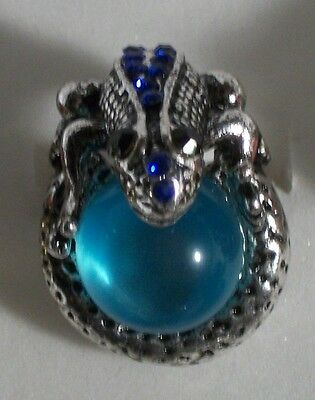 Blue Crystal Silver Plated Frog with Ball Ring