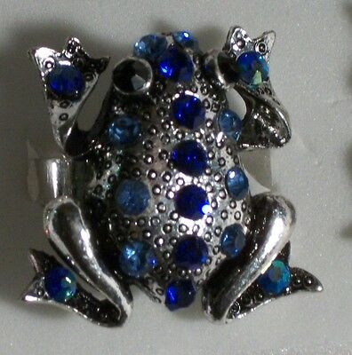 Light and Cobalt Blue Crystal Silver Frog Ring