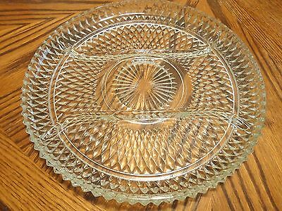 INDIANA GLASS DIAMOND POINT 3 PART RELISH TRAY  ~ PERFECT CONDITION